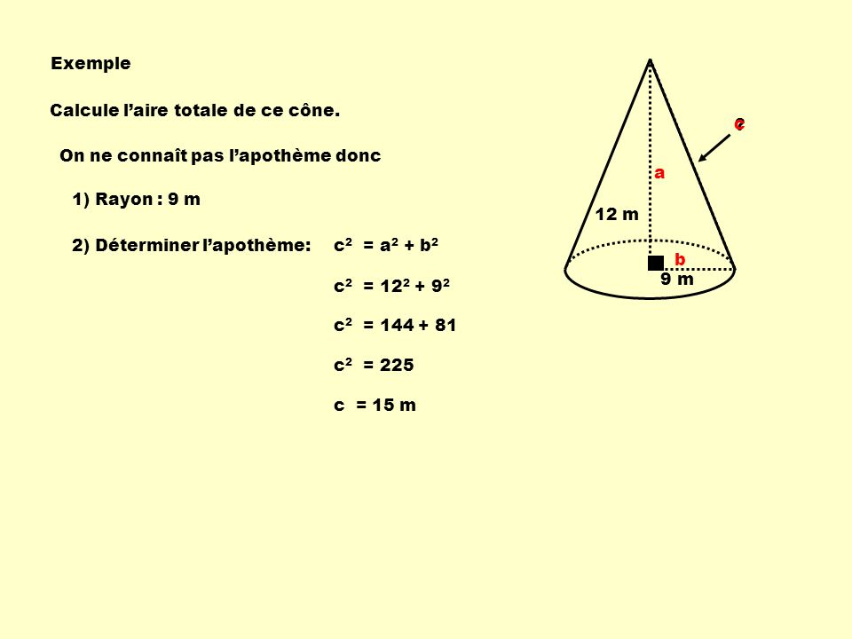 Exemple Calcule l'aire totale de ce cône. c. b. a. On ne connaît pas l'apothème donc. 1) Rayon : 9 m.