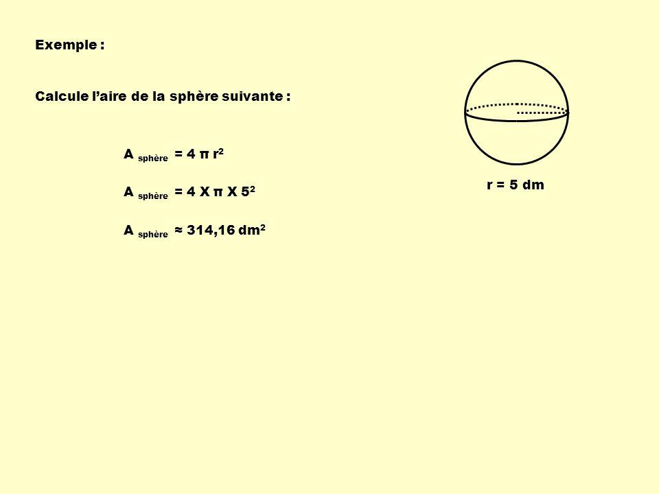 Exemple : Calcule l'aire de la sphère suivante : A sphère = 4 π r2. r = 5 dm. A sphère = 4 X π X 52.