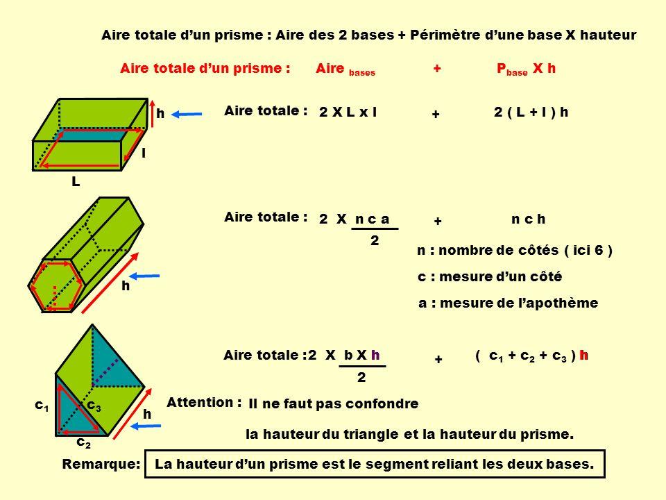 Aire totale d'un prisme : Aire des 2 bases + Périmètre d'une base X hauteur