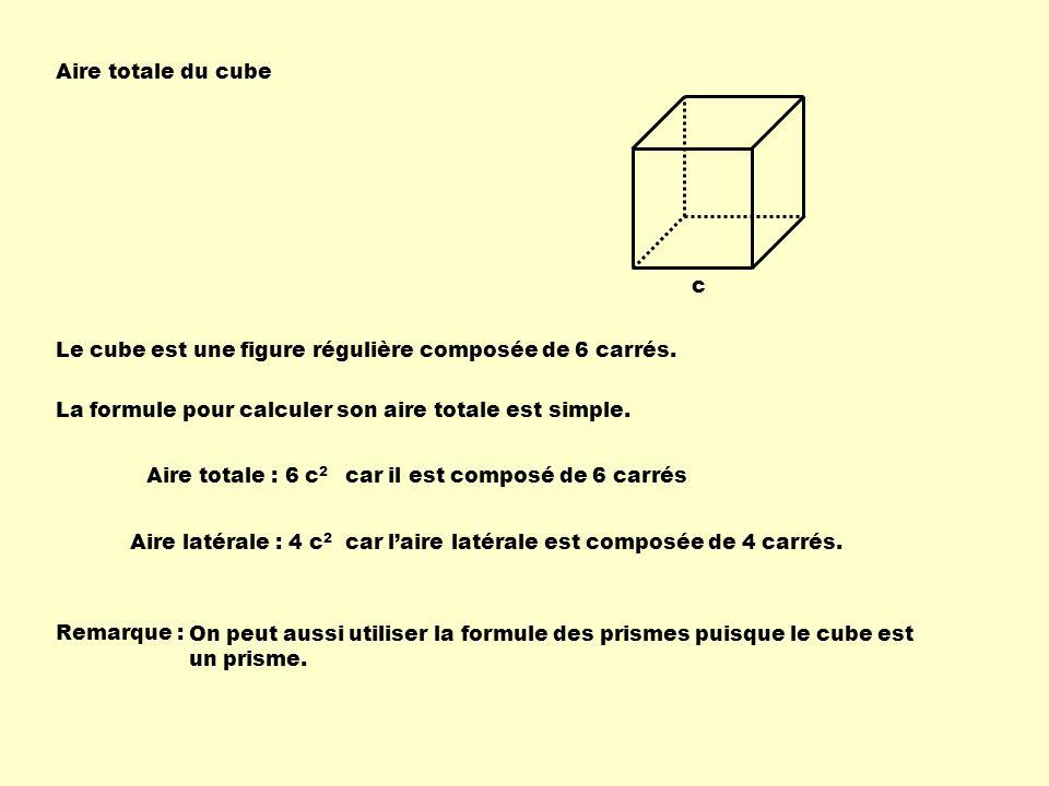 Aire totale du cube c. Le cube est une figure régulière composée de 6 carrés. La formule pour calculer son aire totale est simple.