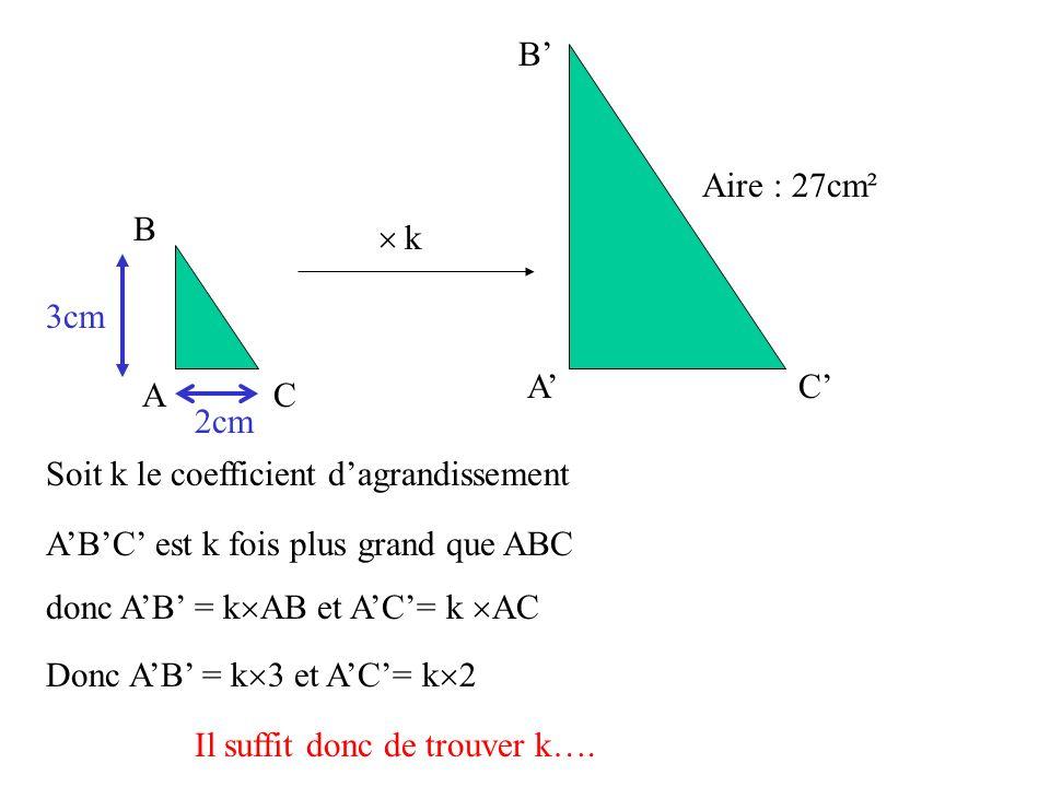 A' B' C' A. B. C.  Aire : 27cm². 3cm. 2cm. k. Soit k le coefficient d'agrandissement. A'B'C' est k fois plus grand que ABC.