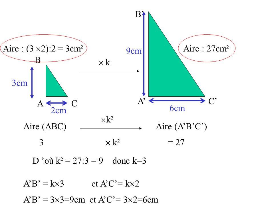 A' B' C' A. B. C.  Aire : 27cm². 3cm. 2cm. 9cm. Aire : (3 2):2 = 3cm². k. 6cm. Aire (ABC)