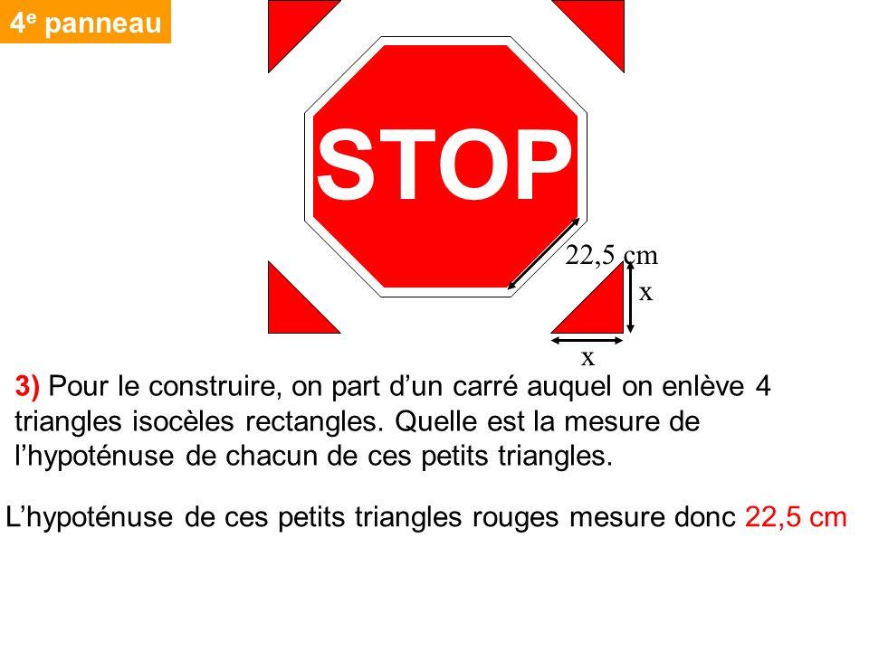 4e panneau STOP. 22,5 cm. x.