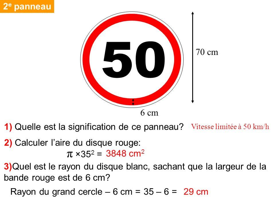 2e panneau 50. 70 cm. 6 cm. 1) Quelle est la signification de ce panneau Vitesse limitée à 50 km/h.