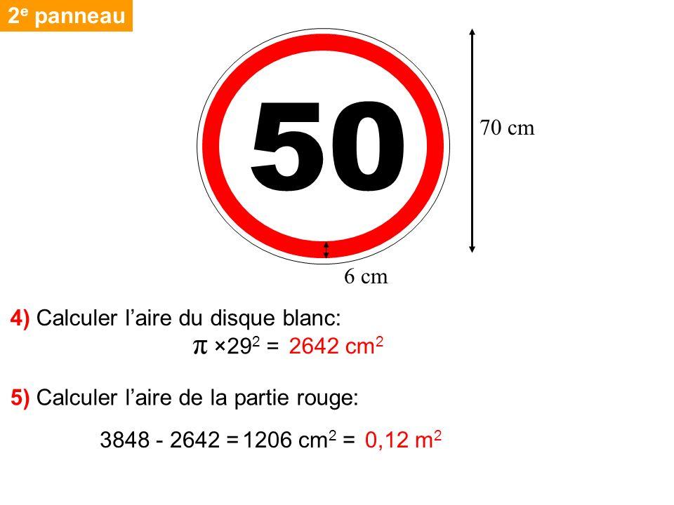 50 π ×292 = 2e panneau 70 cm 6 cm 4) Calculer l'aire du disque blanc: