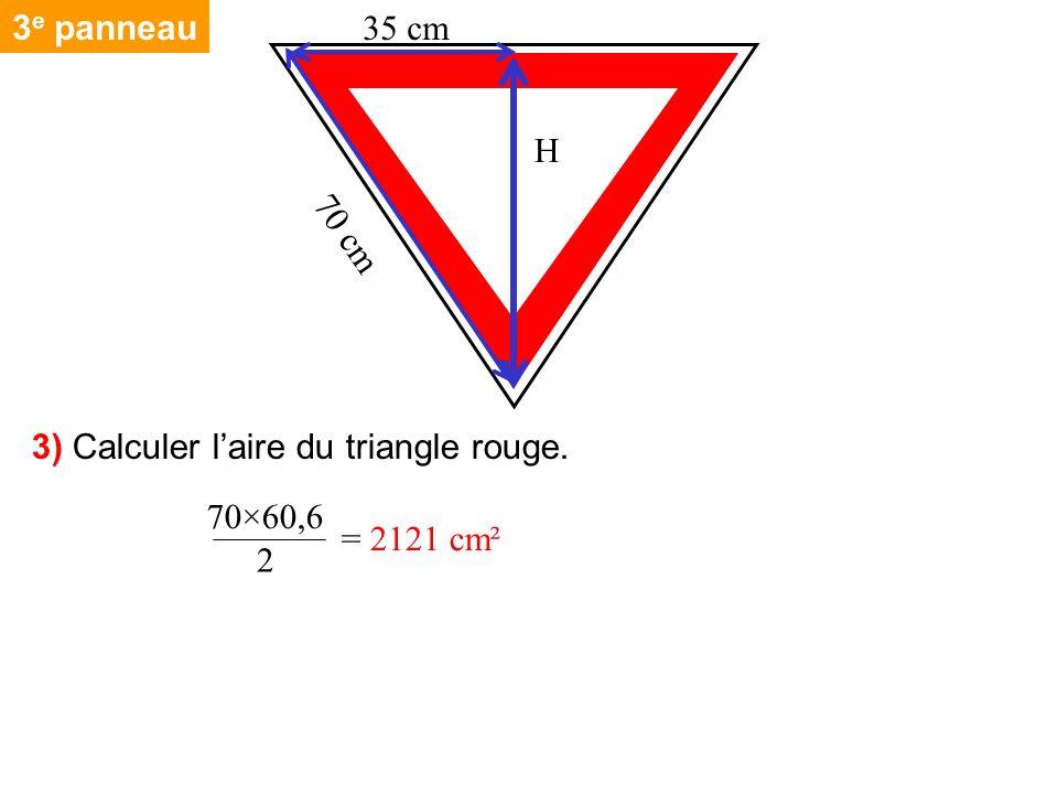 3e panneau 70 cm H 35 cm 3) Calculer l'aire du triangle rouge. 70×60,6 = 2121 cm² 2