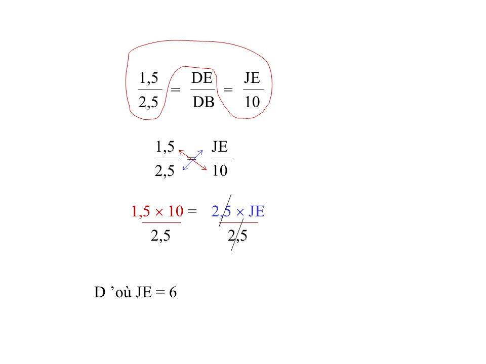 1,5 2,5 = DE DB JE 10 1,5 2,5 = JE 10 1,5  10 = 2,5  JE 2,5 2,5 D 'où JE = 6