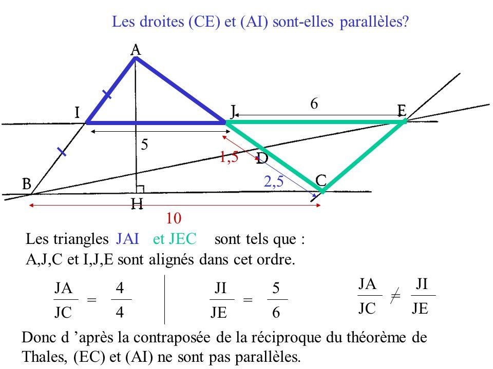Les droites (CE) et (AI) sont-elles parallèles