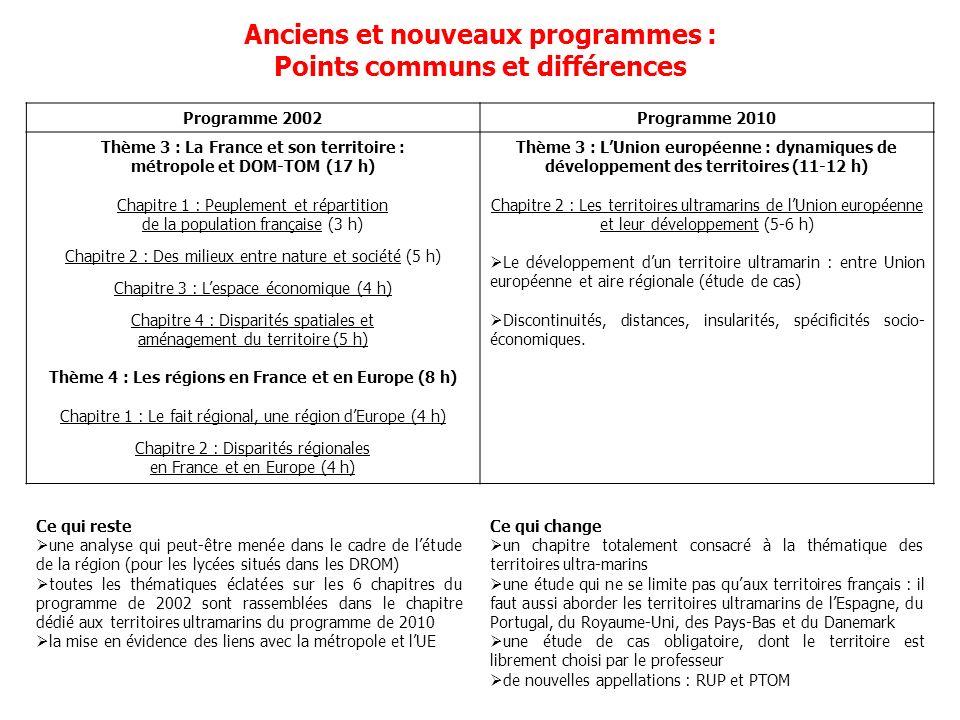 Anciens et nouveaux programmes : Points communs et différences