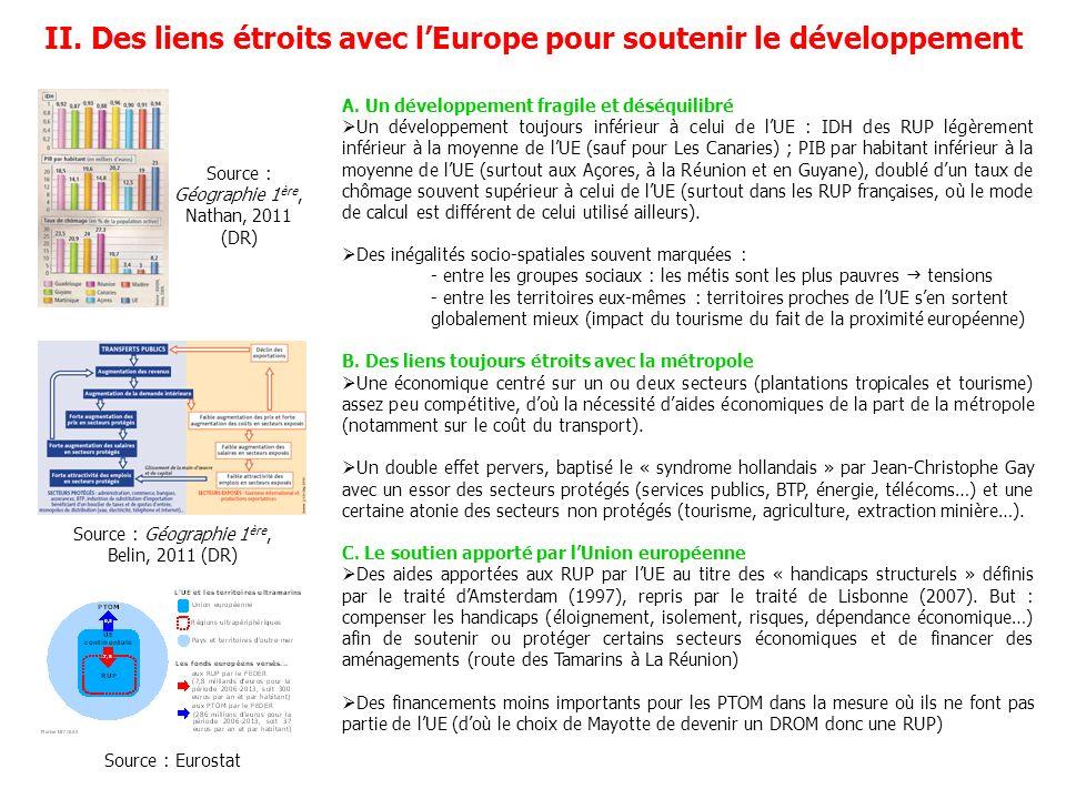 II. Des liens étroits avec l'Europe pour soutenir le développement