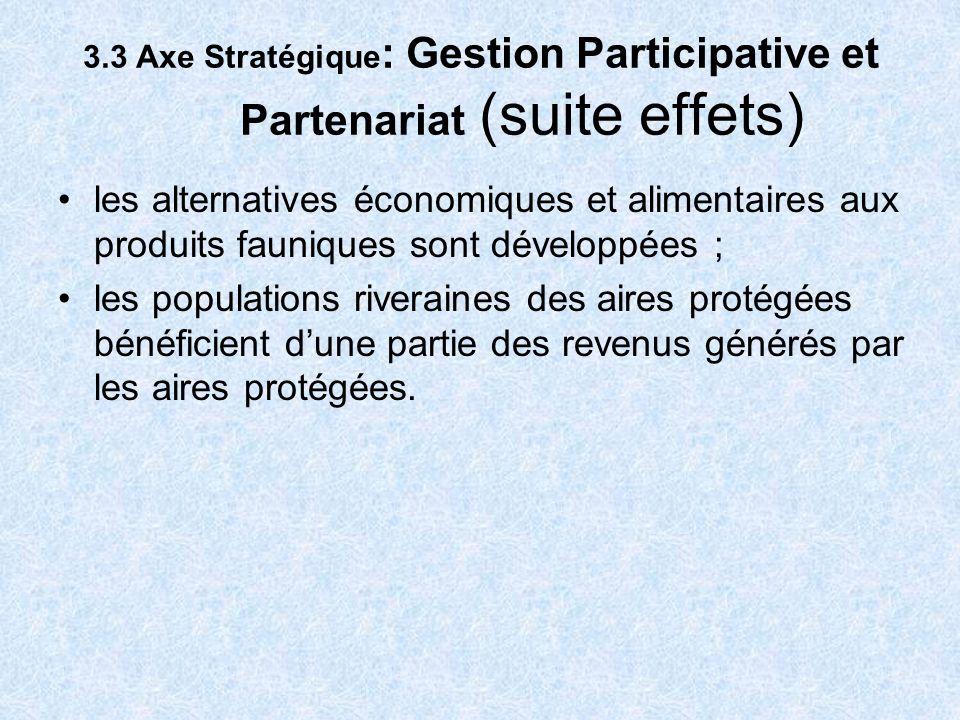 3.3 Axe Stratégique: Gestion Participative et Partenariat (suite effets)