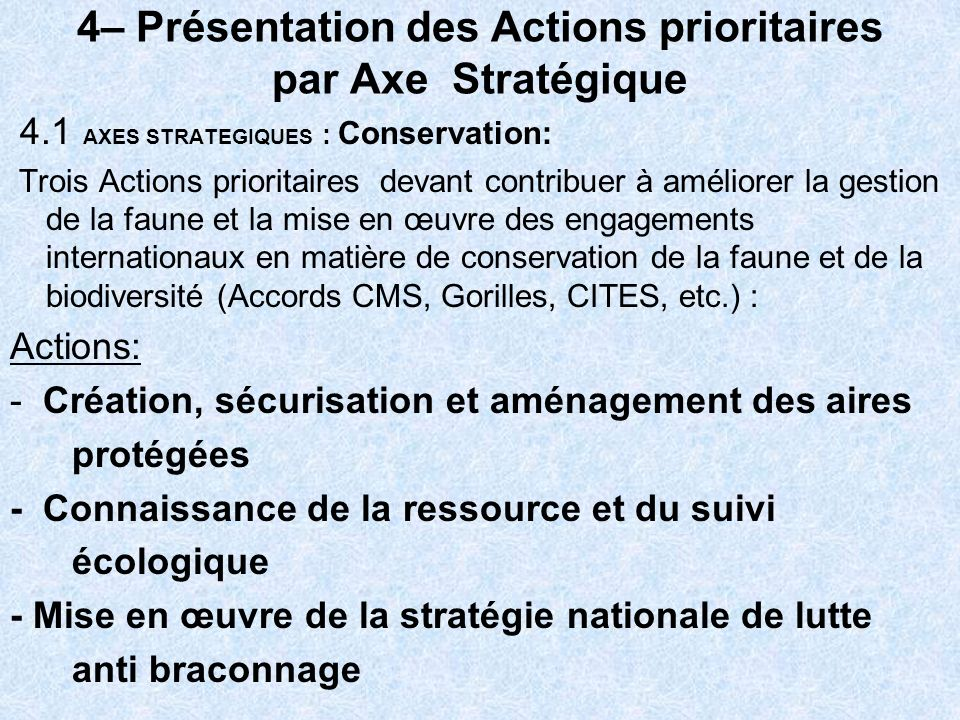 4– Présentation des Actions prioritaires par Axe Stratégique