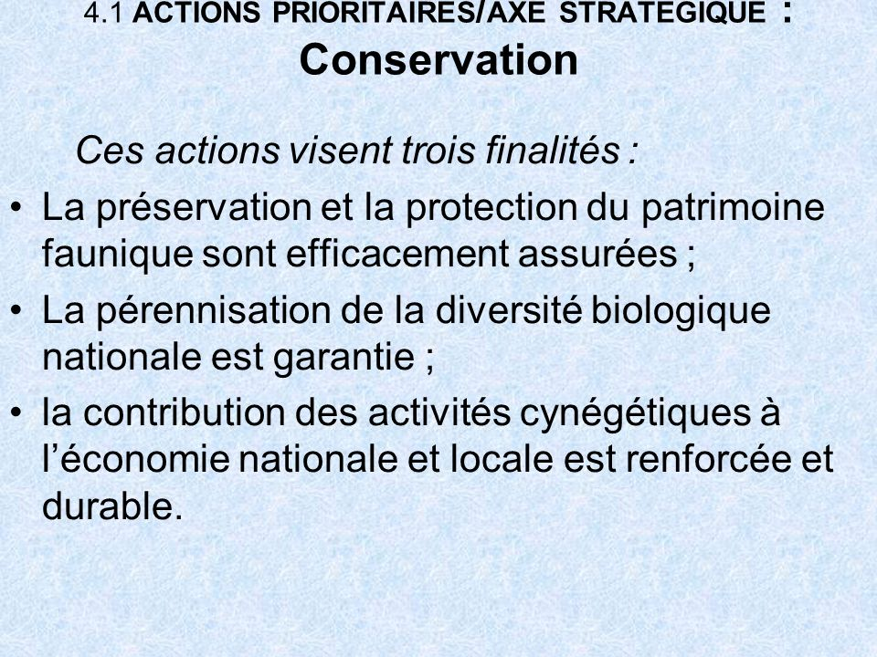 4.1 ACTIONS PRIORITAIRES/AXE STRATEGIQUE : Conservation