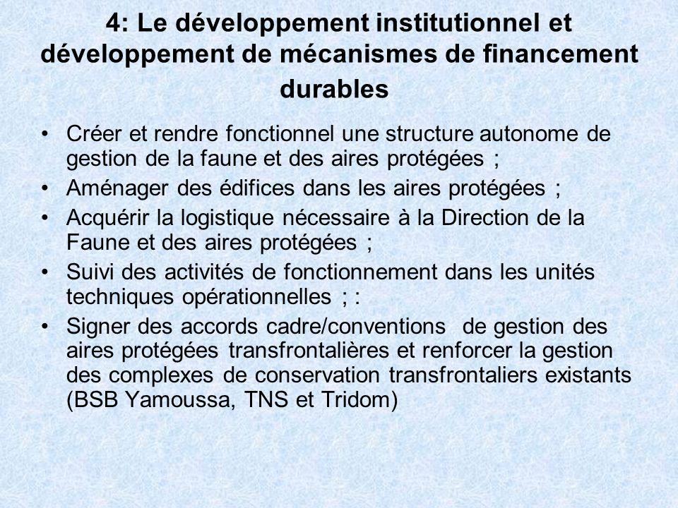 4: Le développement institutionnel et développement de mécanismes de financement durables