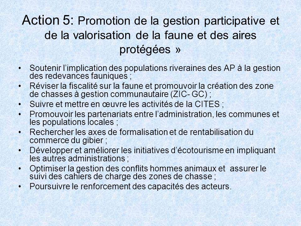 Action 5: Promotion de la gestion participative et de la valorisation de la faune et des aires protégées »