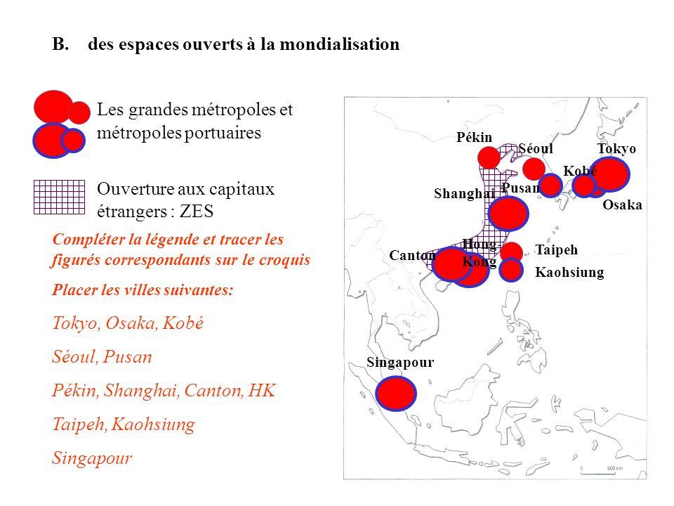 Les grandes métropoles et métropoles portuaires