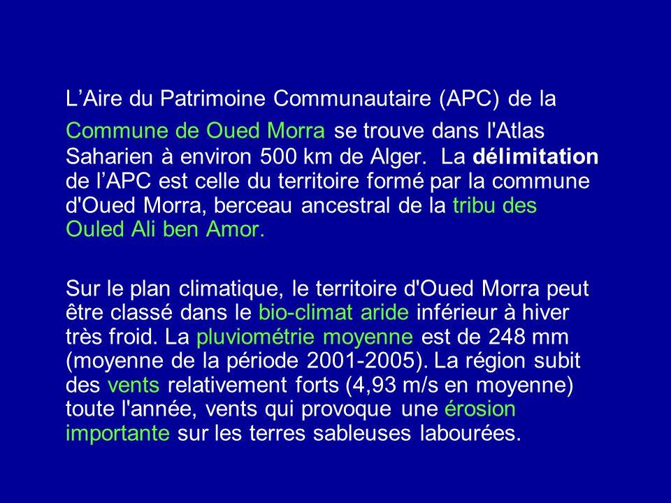 L'Aire du Patrimoine Communautaire (APC) de la Commune de Oued Morra se trouve dans l Atlas Saharien à environ 500 km de Alger. La délimitation de l'APC est celle du territoire formé par la commune d Oued Morra, berceau ancestral de la tribu des Ouled Ali ben Amor.