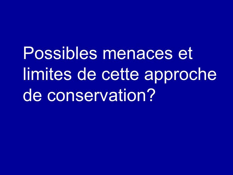 Possibles menaces et limites de cette approche de conservation