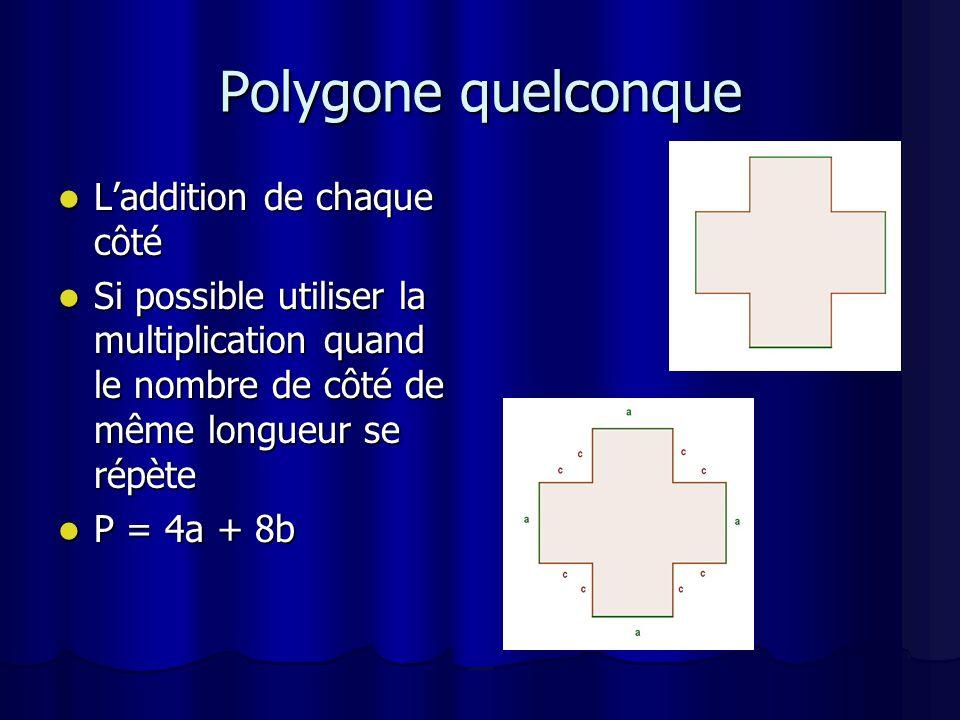Polygone quelconque L'addition de chaque côté