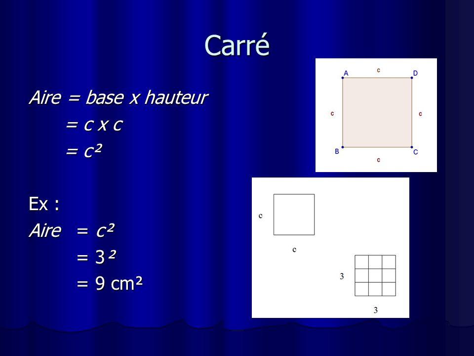 Carré Aire = base x hauteur = c x c = c² Ex : Aire = c² = 3² = 9 cm²