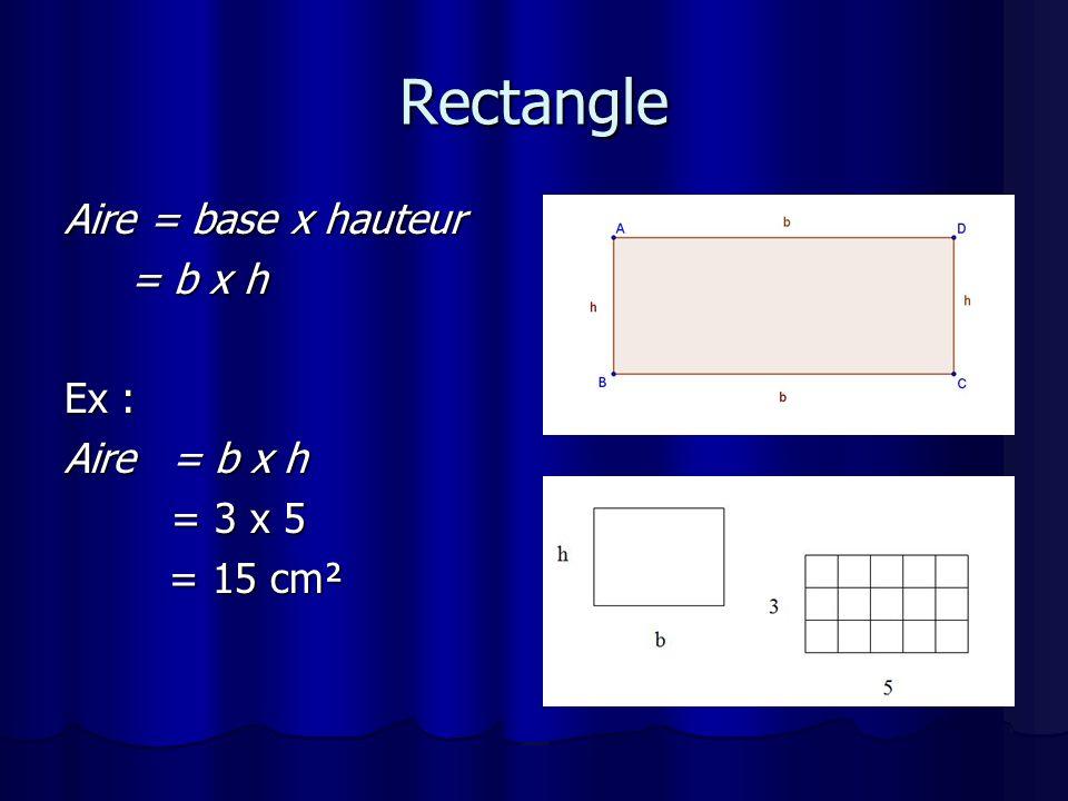 Rectangle Aire = base x hauteur = b x h Ex : Aire = b x h = 3 x 5