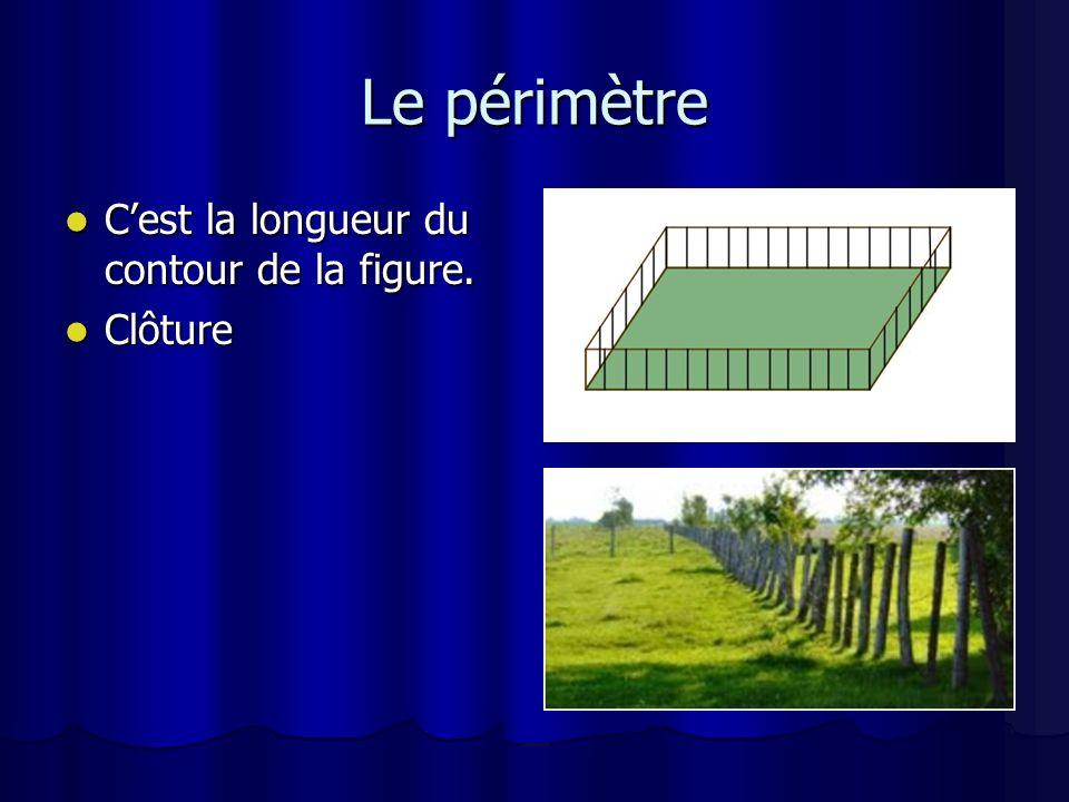 Le périmètre C'est la longueur du contour de la figure. Clôture