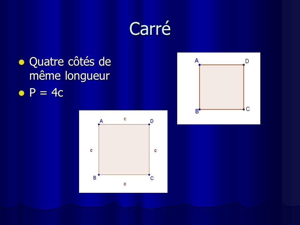 Carré Quatre côtés de même longueur P = 4c