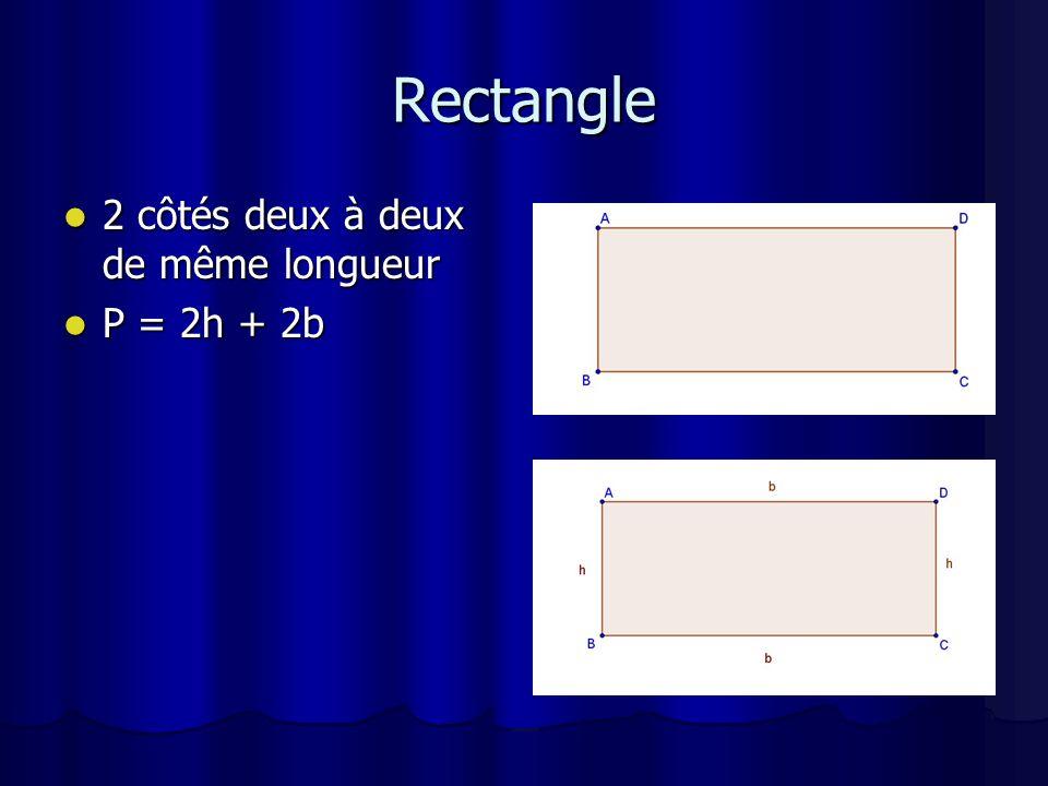 Rectangle 2 côtés deux à deux de même longueur P = 2h + 2b