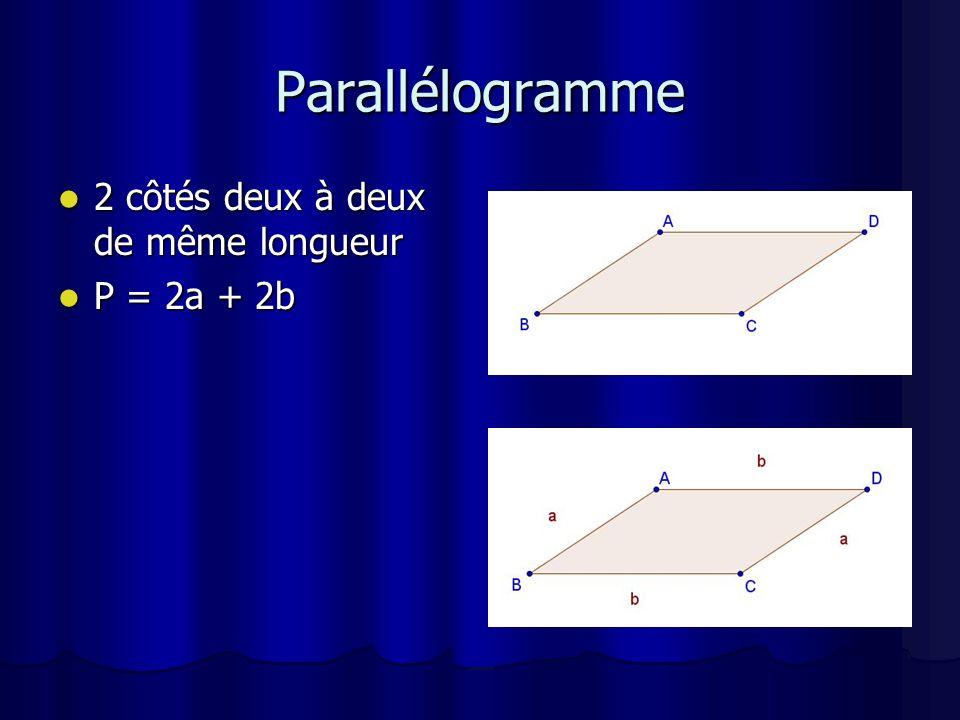 Parallélogramme 2 côtés deux à deux de même longueur P = 2a + 2b
