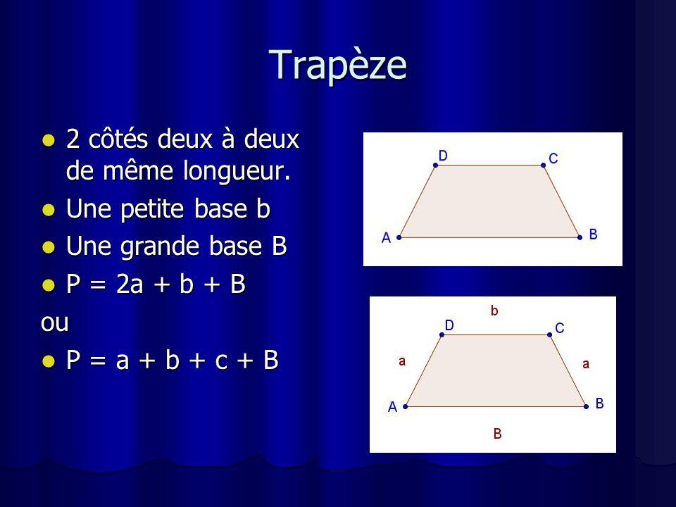Trapèze 2 côtés deux à deux de même longueur. Une petite base b