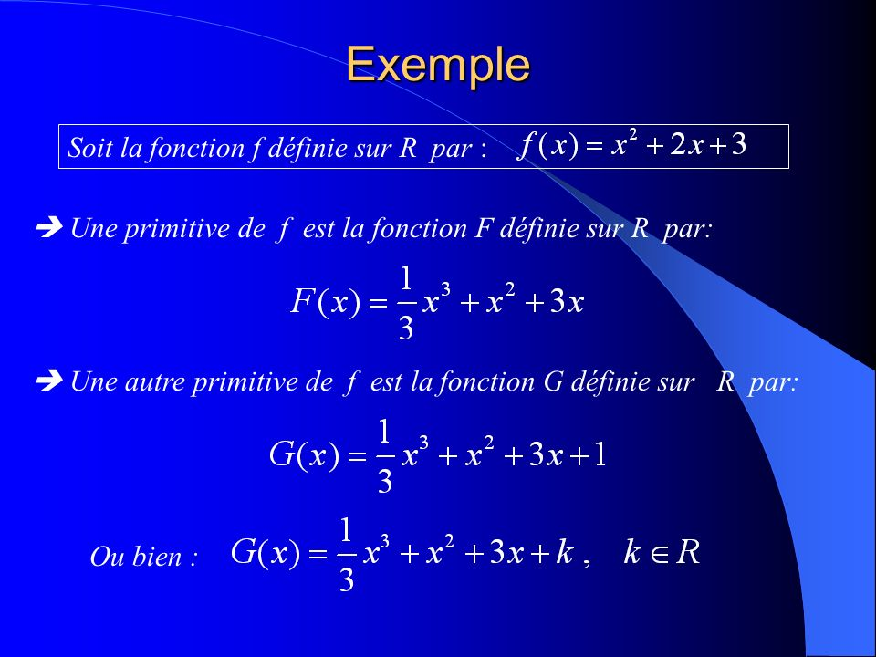 Exemple Soit la fonction f définie sur R par :
