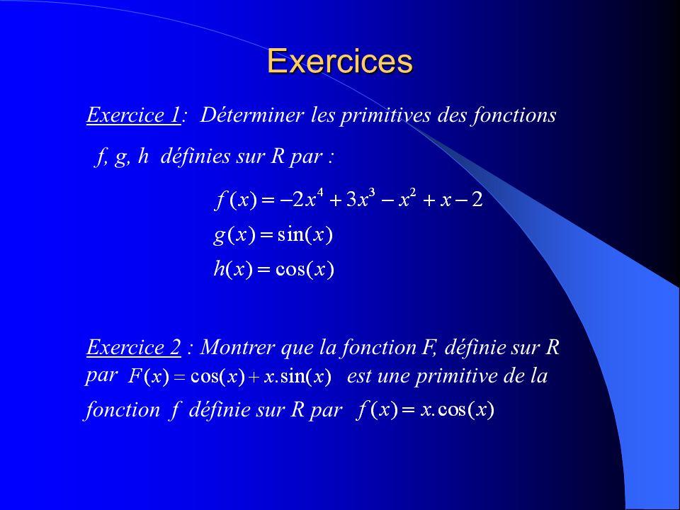 Exercices Exercice 1: Déterminer les primitives des fonctions