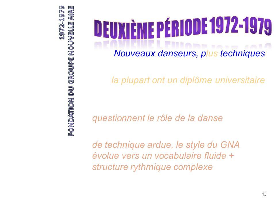 DEUXIÈME période 1972-1979 Nouveaux danseurs, plus techniques