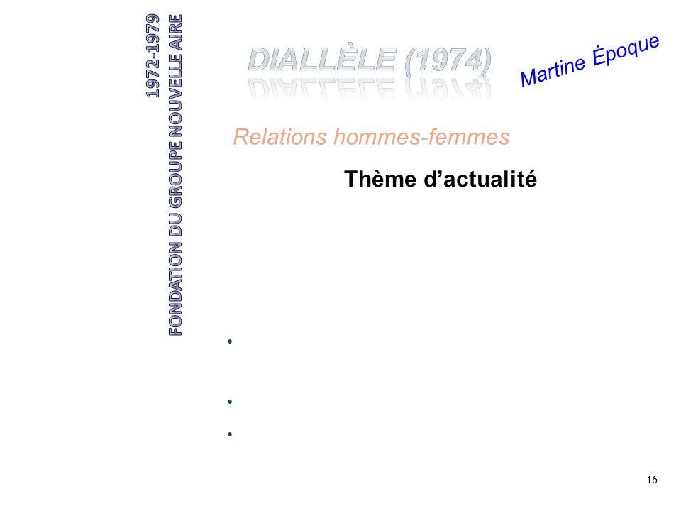 DIALLÈLE (1974) Relations hommes-femmes Thème d'actualité