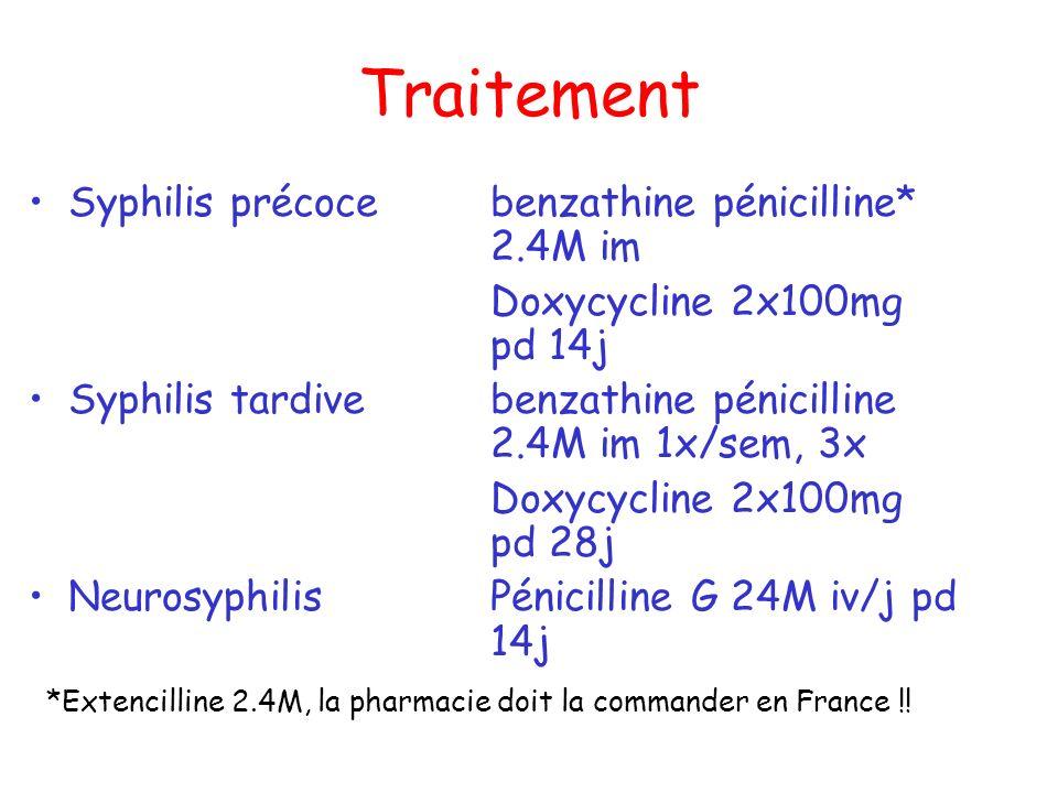 Traitement Syphilis précoce benzathine pénicilline* 2.4M im