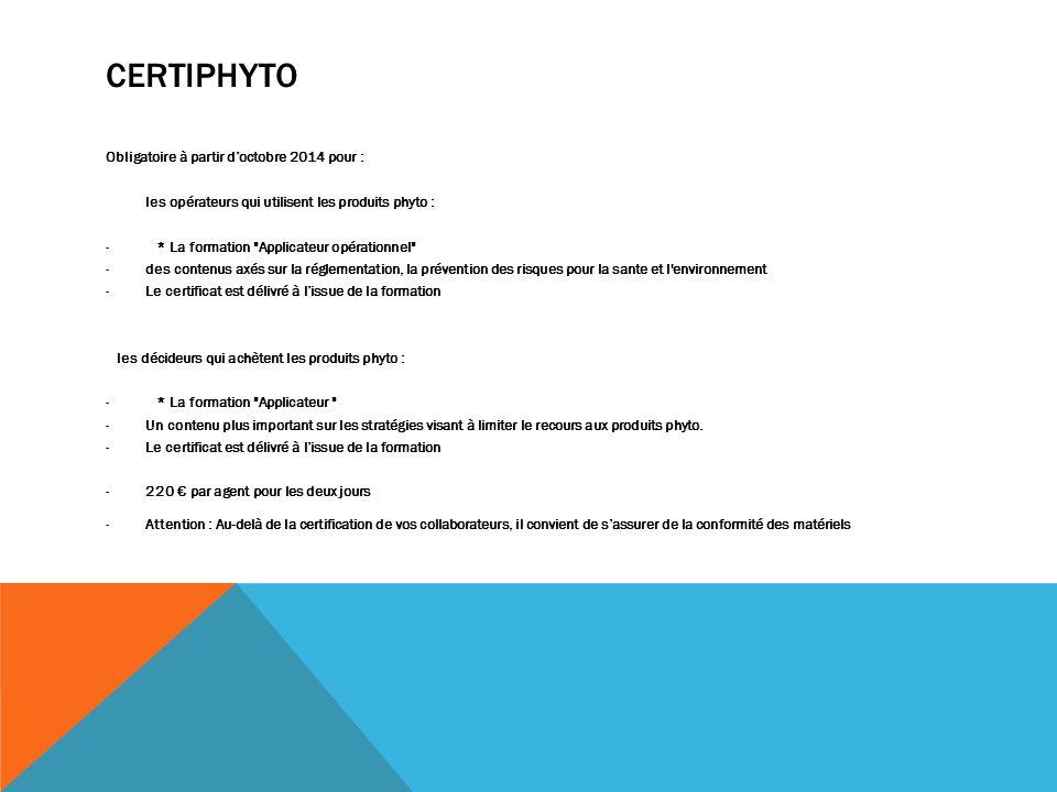 Certiphyto Obligatoire à partir d'octobre 2014 pour :