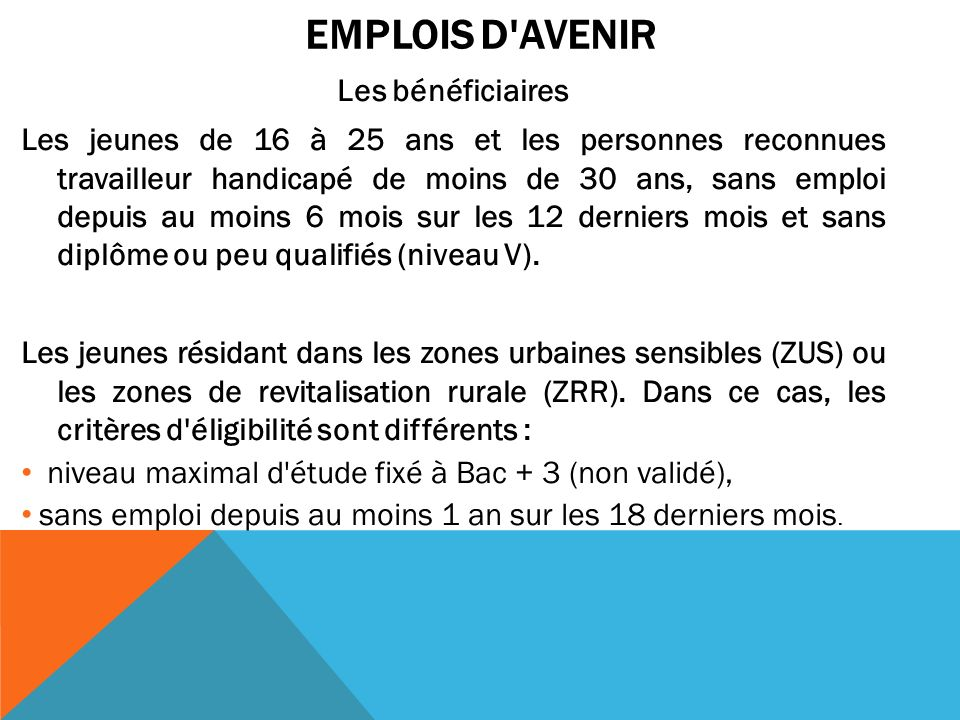 Emplois d Avenir Les bénéficiaires.
