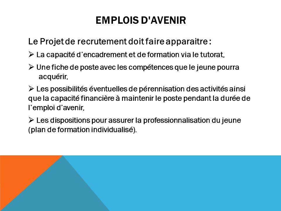 Emplois d Avenir Le Projet de recrutement doit faire apparaitre :