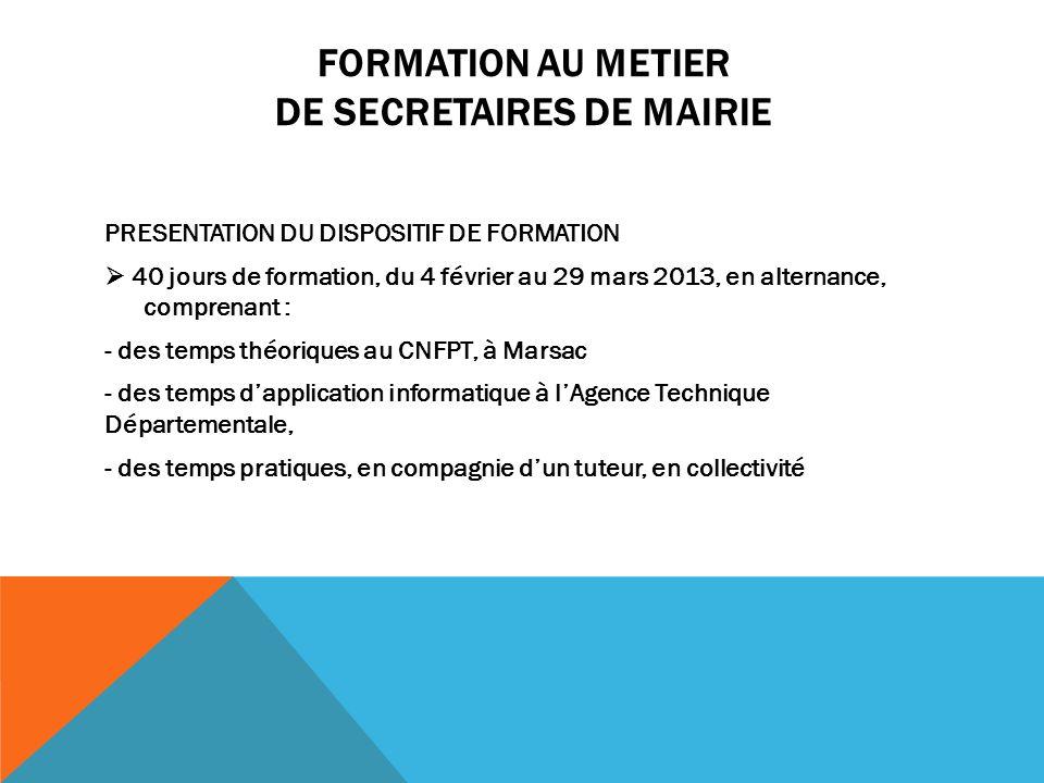 FORMATION AU METIER DE SECRETAIRES DE MAIRIE