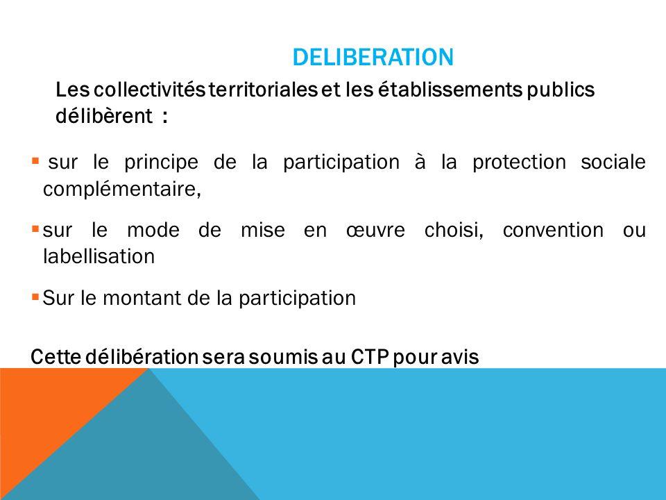 DELIBERATION Les collectivités territoriales et les établissements publics délibèrent :