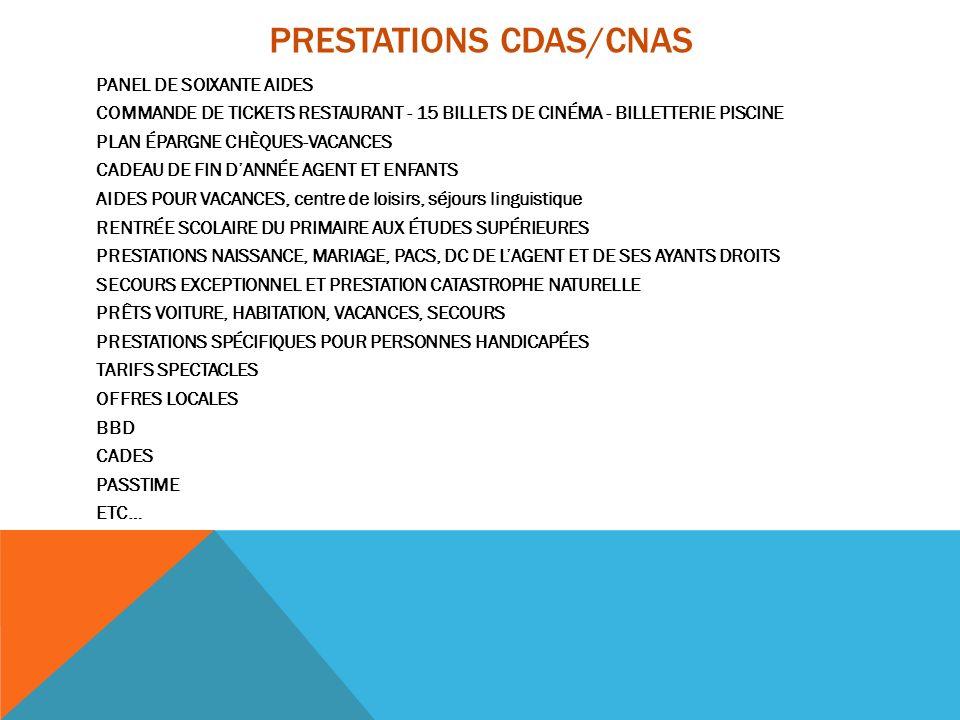 PRESTATIONS CDAS/CNAS