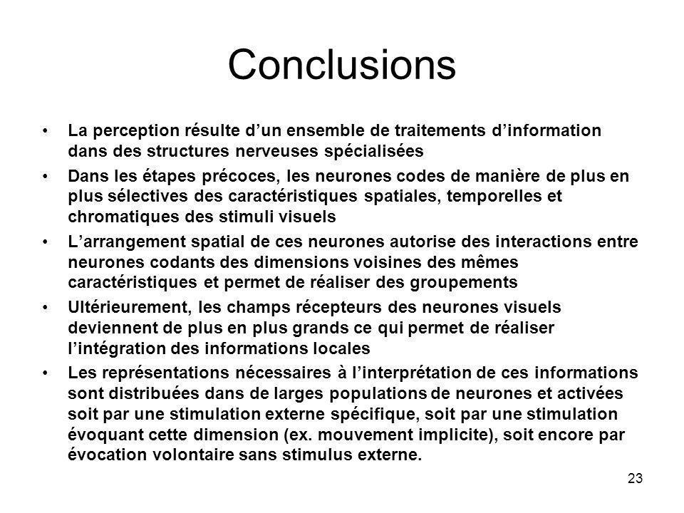 Conclusions La perception résulte d'un ensemble de traitements d'information dans des structures nerveuses spécialisées.