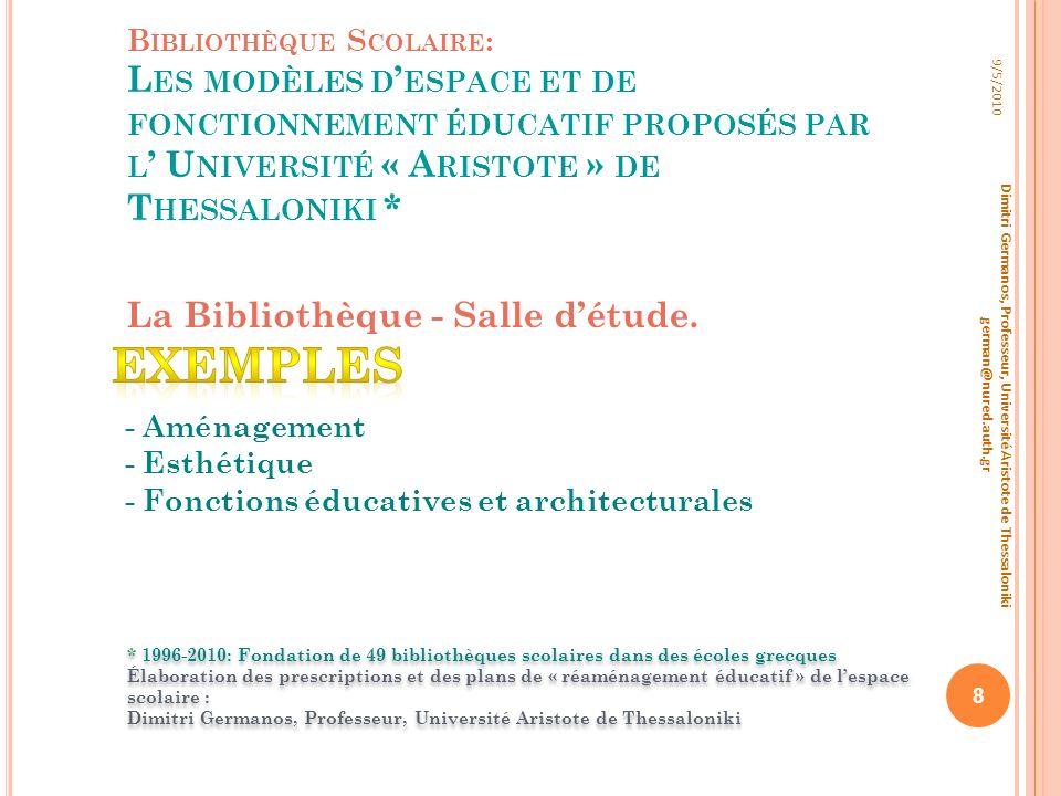 Exemples La Bibliothèque - Salle d'étude.