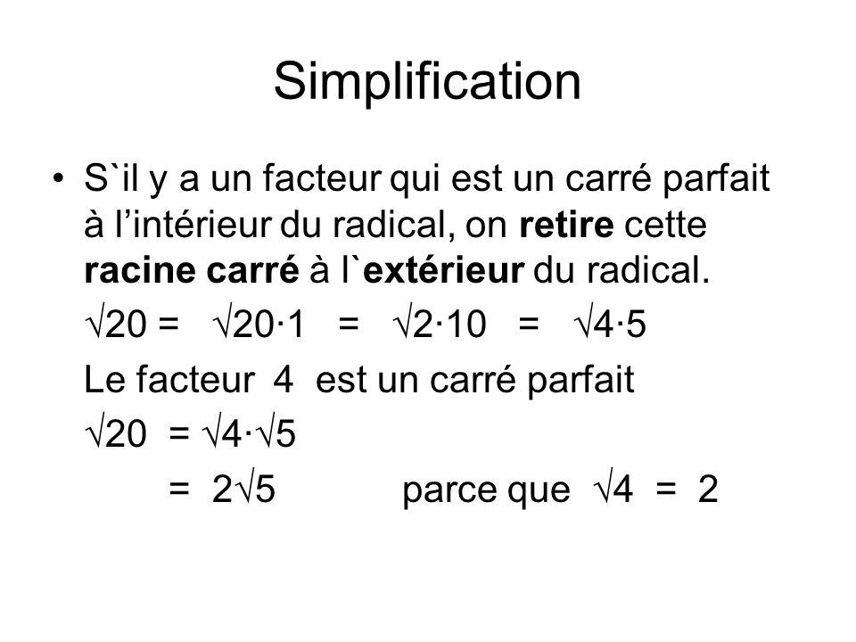 Simplification S`il y a un facteur qui est un carré parfait à l'intérieur du radical, on retire cette racine carré à l`extérieur du radical.