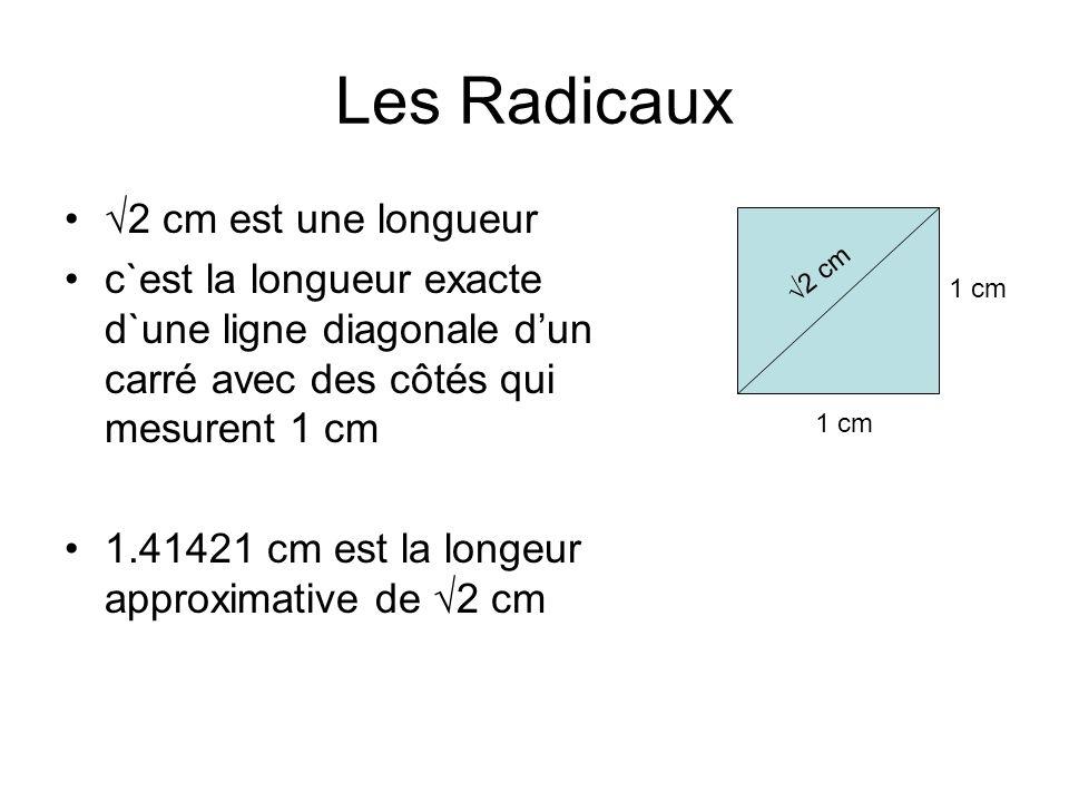 Les Radicaux √2 cm est une longueur