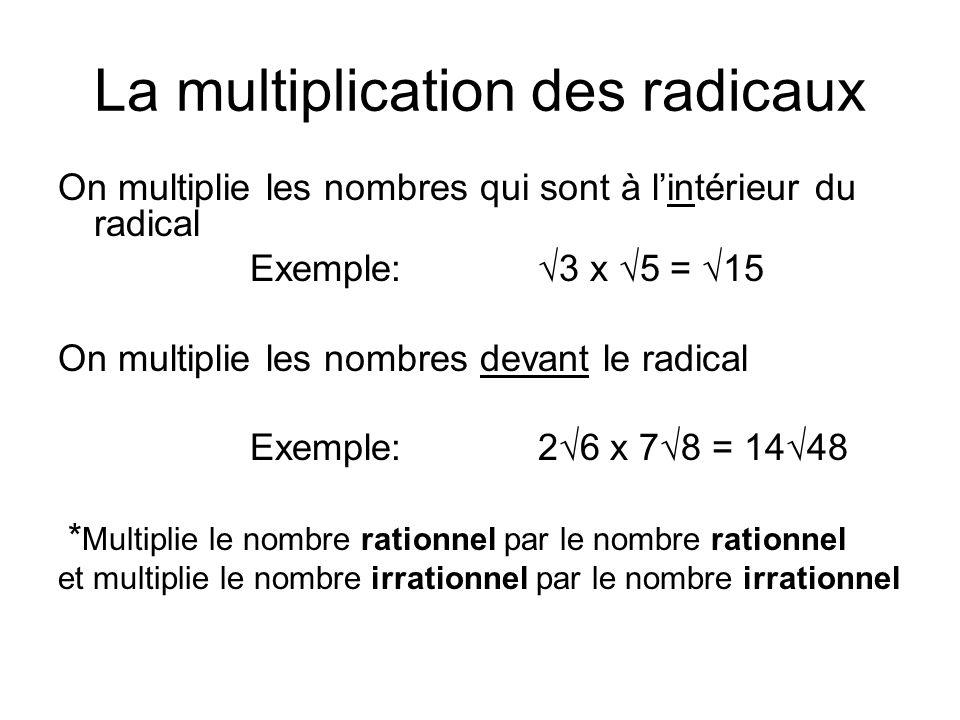 La multiplication des radicaux