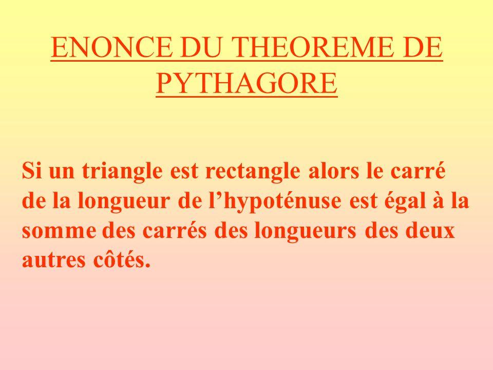 ENONCE DU THEOREME DE PYTHAGORE