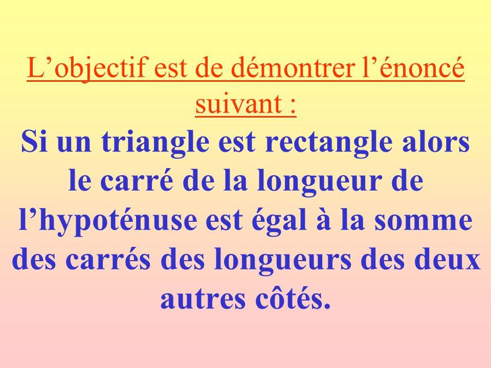 L'objectif est de démontrer l'énoncé suivant : Si un triangle est rectangle alors le carré de la longueur de l'hypoténuse est égal à la somme des carrés des longueurs des deux autres côtés.