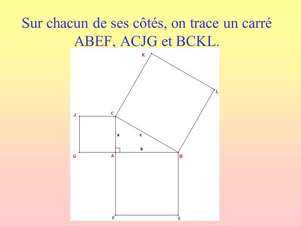 Sur chacun de ses côtés, on trace un carré ABEF, ACJG et BCKL.