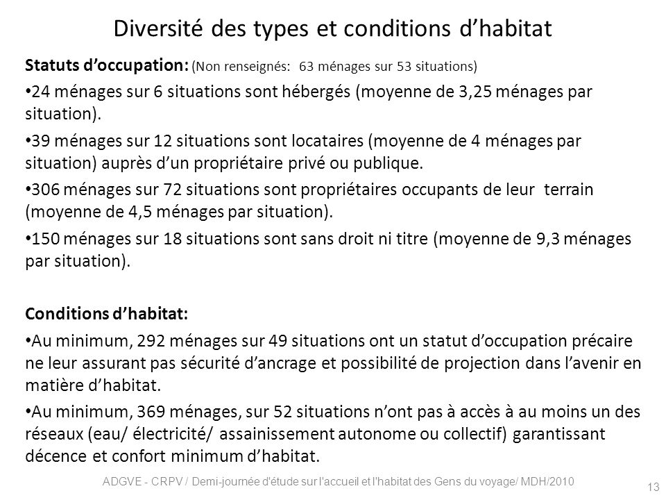 Diversité des types et conditions d'habitat